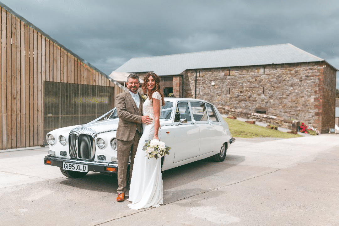 White Daimler Limousine (seats 7 passengers) Wedding Car Hire