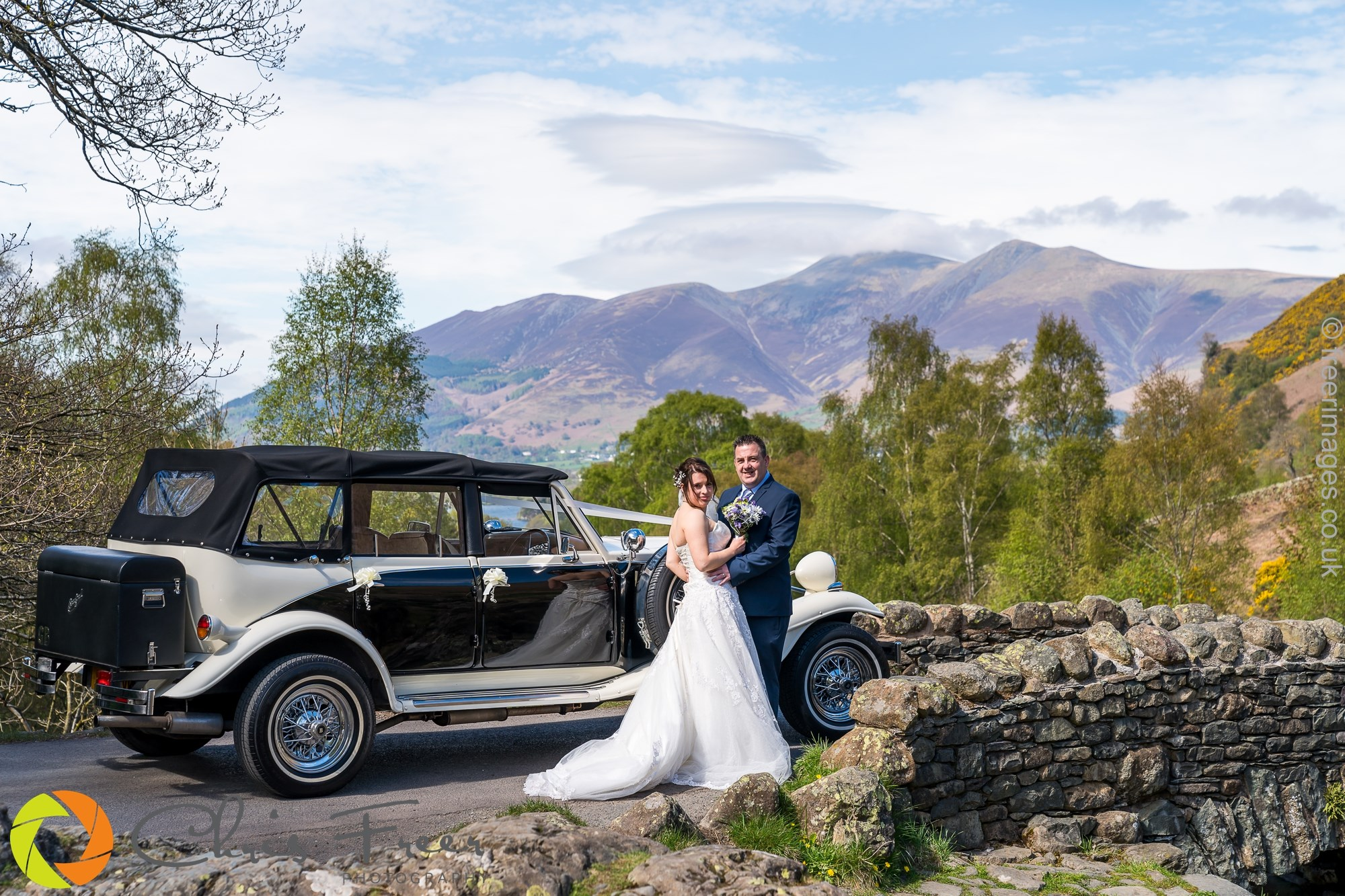 4 door long bodied Black & Ivory Beauford (seats 3 passengers) Wedding Car Hire
